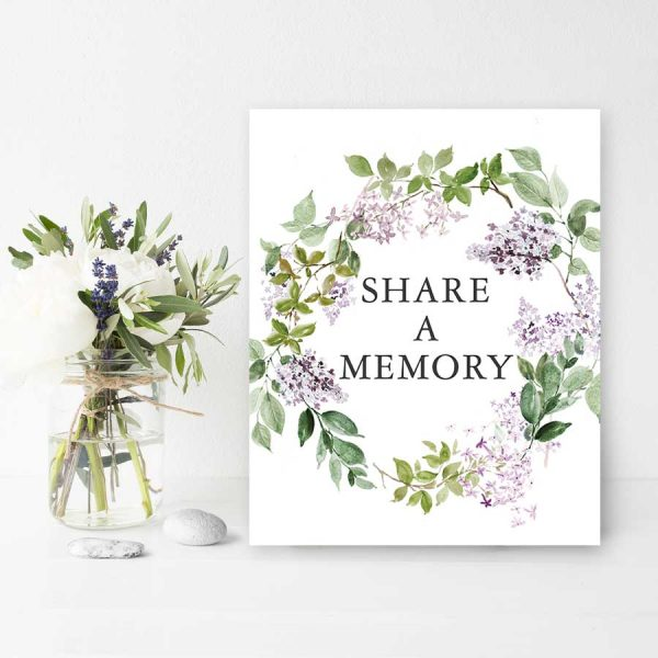 Lilac Funeral Memorial Table Sign