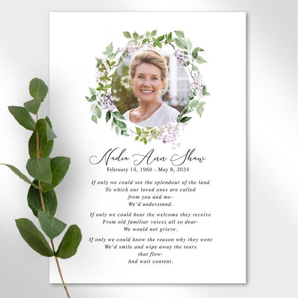 Large Funeral Mass Cards with Poem