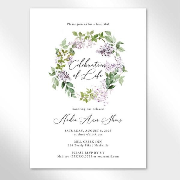 Lilac Celebration of Life Invitation Template