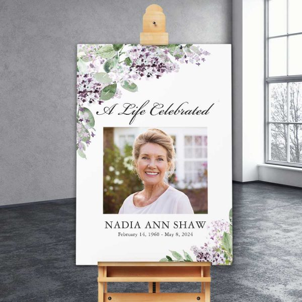 Funeral Poster Template Lilac