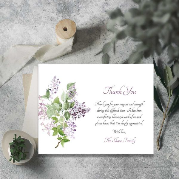 Lilac Bereavement Thank You Card