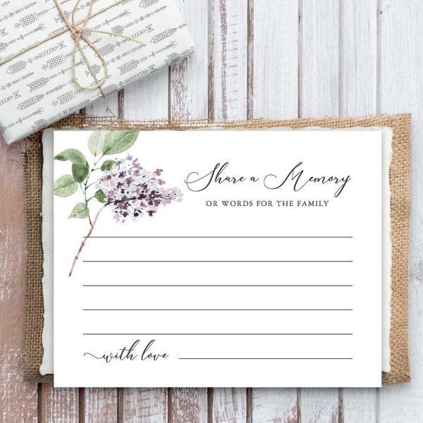 Memorial Favorite Memory Card Lilac Theme