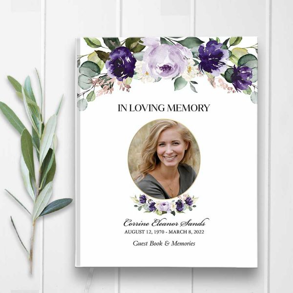 Guest Book for Funeral Purple Roses