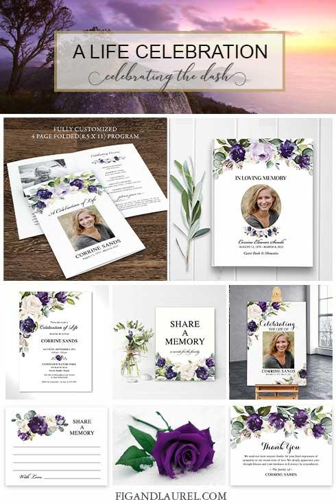 Celebration of Life Funeral Cards Floral