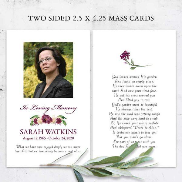 Funeral Mass Card Photo Keepsake Floral