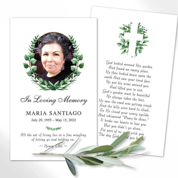 Catholic Funeral Mass Card with Greenery