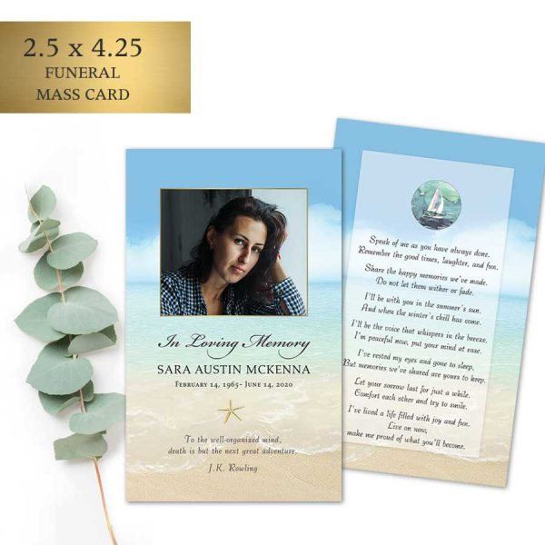 Beach Funeral Mass Card Customized For You