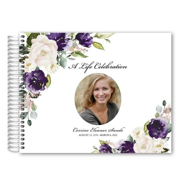 Memorial Funeral Guest Book Purple Floral