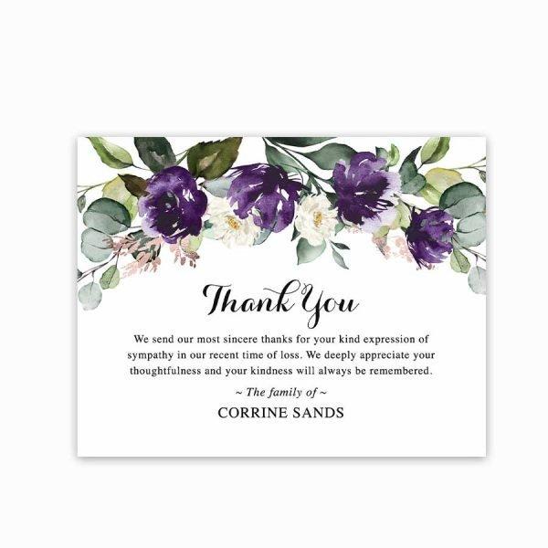 Sympathy Acknowledgement Cards Purple Rose