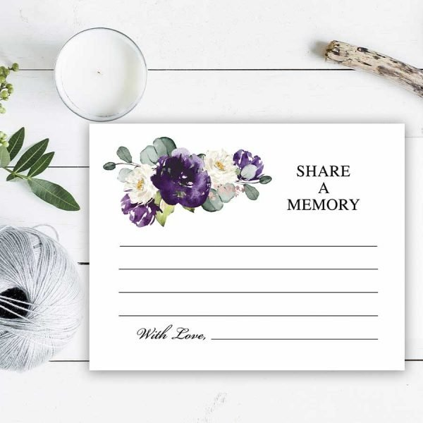 Purple Roses Funeral Cards