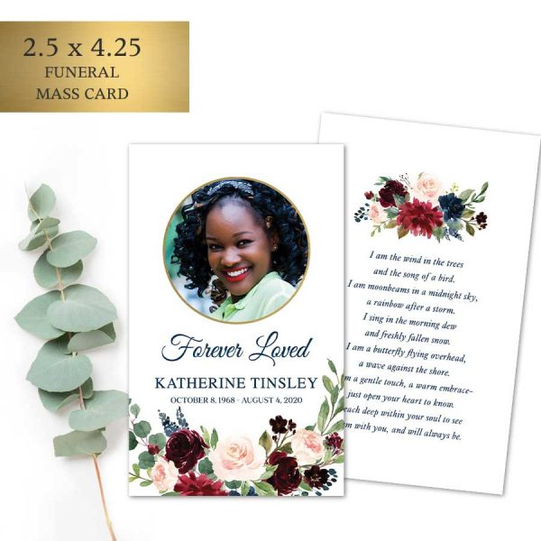 Funeral Mass Card Custom Photo and Poem