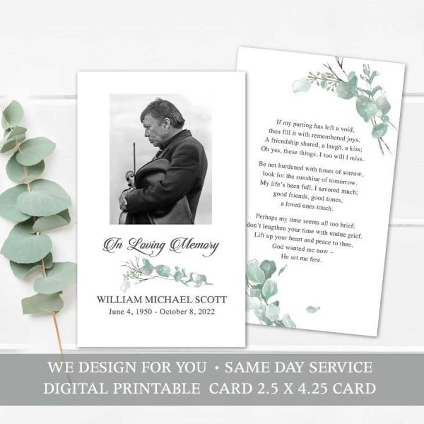 Memorial Service Keepsake Cards for Funeral