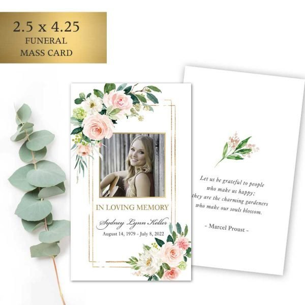 Memorial Service Keepsake Card with Photo