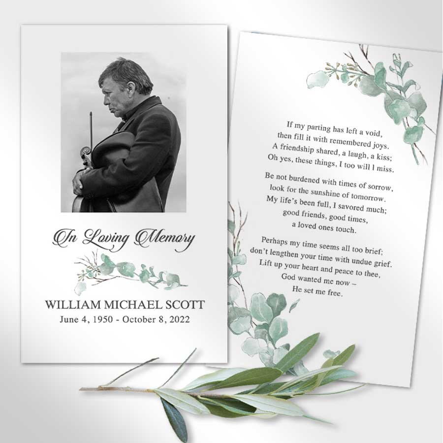 Funeral Memorial Card with Photo and Poem