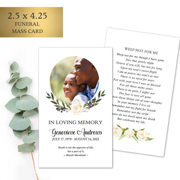 Funeral Remembrance Mass Cards with Photo