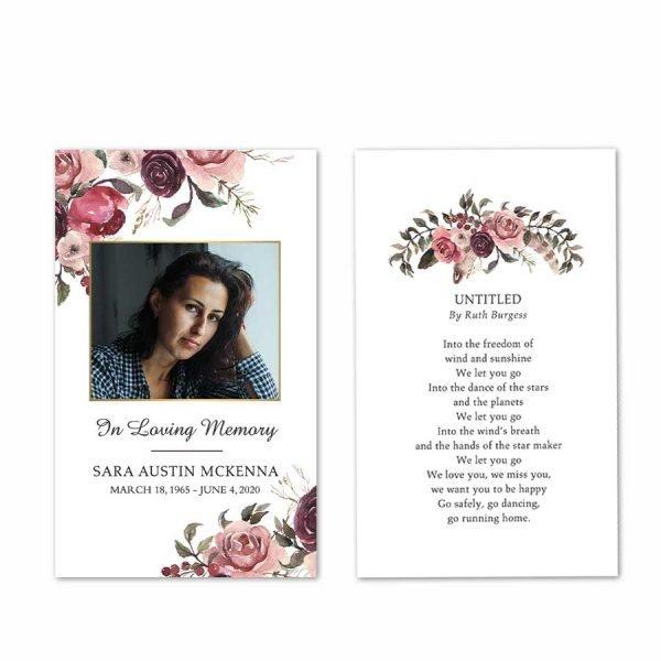 Prayer Card Keepsake for Memorial Celebration