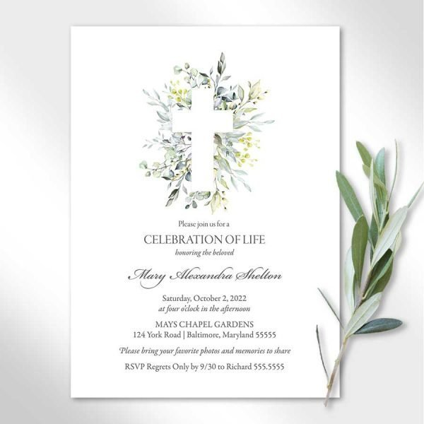 Religious Cross Funeral Invitation