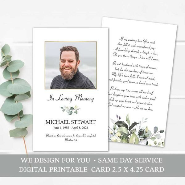 Printable Memorial Mass Card Keepsake