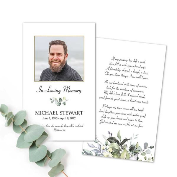 Funeral Mass Card Keepsake with Photo