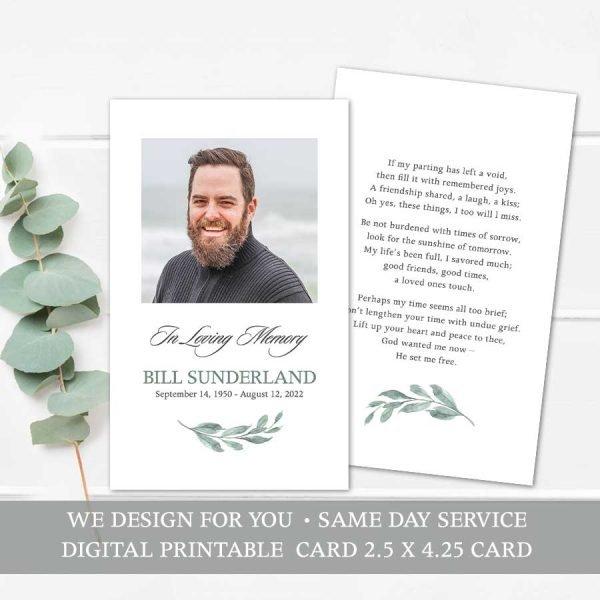 Memorial Keepsake Card Printable Template