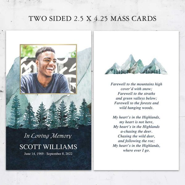Funeral Mass Cards Online Mountain Theme