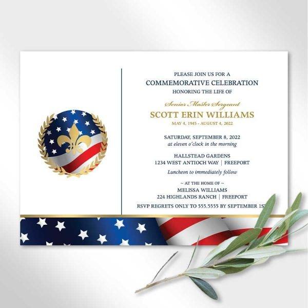 Veterans Memorial Funeral Invitation Patriotic