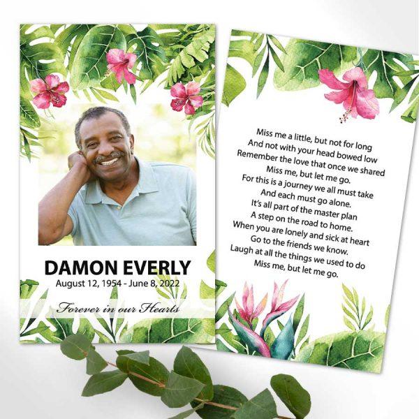 Tropical Funeral Mass Card Keepsake