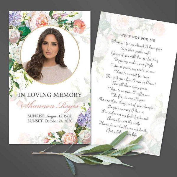 Customized Funeral Mass Card Keepsake