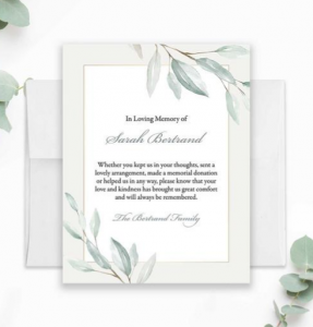 funeral thank you card wording