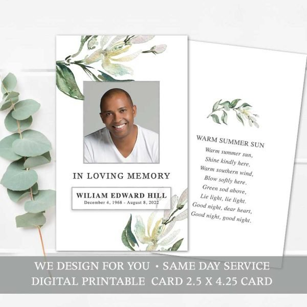 Printable Funeral Mass Card Template