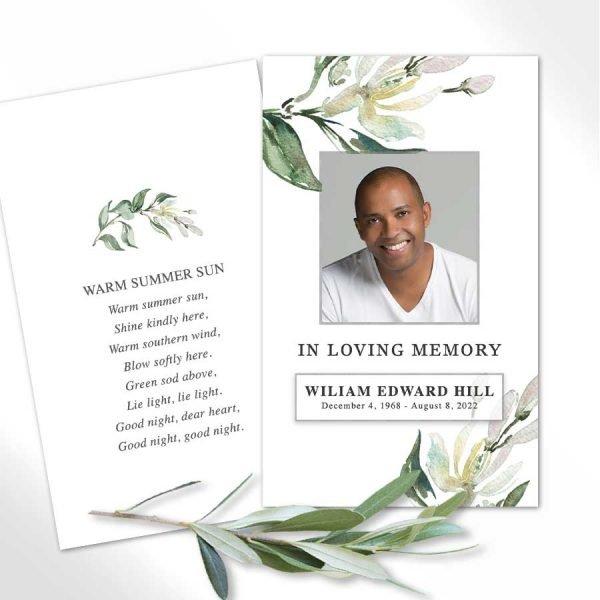Beautiful Funeral Mass Card Photo Keepsake