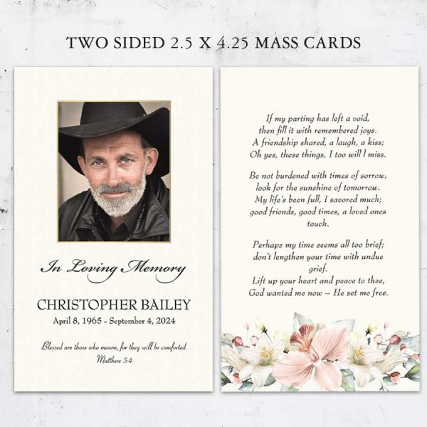 Mass Card Printable Template for Funerals