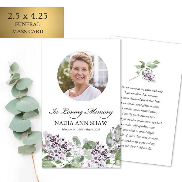 Printed Mass Cards for a Funeral